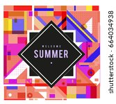 trendy vector summer cards... | Shutterstock .eps vector #664034938