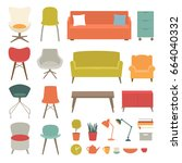 vector set of living room...