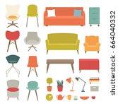 vector set of living room... | Shutterstock .eps vector #664040332