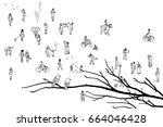 tree branch with two birds and... | Shutterstock .eps vector #664046428