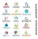 set of fifteen modern logo... | Shutterstock .eps vector #664046476
