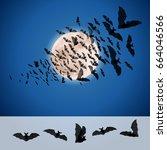set of bats for halloween...   Shutterstock .eps vector #664046566