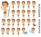 set of various poses of... | Shutterstock .eps vector #664061146