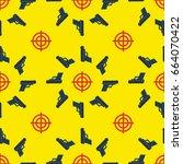 gun targets seamless pattern... | Shutterstock .eps vector #664070422