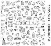 hand drawn doodle pets stuff... | Shutterstock .eps vector #664072372
