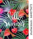 hello summer lettering. vector...   Shutterstock .eps vector #664075672