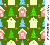 house new year seamless pattern ... | Shutterstock . vector #664085722