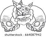 double skull | Shutterstock .eps vector #664087942