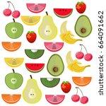 fresh exotic fruits set... | Shutterstock .eps vector #664091662