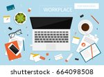 workplace for business ... | Shutterstock .eps vector #664098508