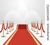 red carpet on stairs. empty... | Shutterstock .eps vector #664103452