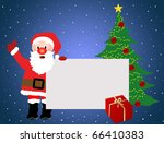 Santa Claus advertising with blank poster, gift and christmas tree - stock vector