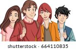 group of cartoon young people....   Shutterstock .eps vector #664110835