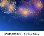 brightly colorful fireworks on... | Shutterstock .eps vector #664115812