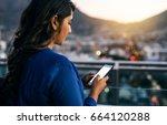 young businesswoman sending... | Shutterstock . vector #664120288