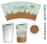 vector template paper cup for... | Shutterstock .eps vector #664125832