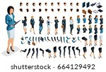 large isometric set of gestures ... | Shutterstock .eps vector #664129492