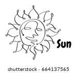 line icon sun summer. black... | Shutterstock .eps vector #664137565