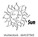 line icon sun summer. black... | Shutterstock .eps vector #664137565