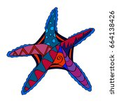 hand drawn colored star fish... | Shutterstock .eps vector #664138426