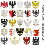 set of heraldic poland eagles.... | Shutterstock .eps vector #664140292