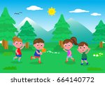 two boy and two girl playing... | Shutterstock .eps vector #664140772