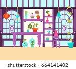 interior of a magical... | Shutterstock .eps vector #664141402