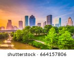 houston  texas  usa downtown... | Shutterstock . vector #664157806