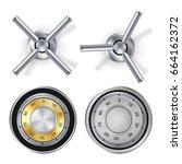 metal combination lock isolated ... | Shutterstock .eps vector #664162372