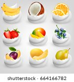 big collection of fruit in... | Shutterstock .eps vector #664166782