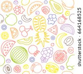 seamless pattern of various... | Shutterstock .eps vector #664168525