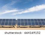 solar panels in golmud city ...   Shutterstock . vector #664169152