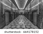 black and white look down a... | Shutterstock . vector #664178152