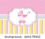 Vector card template with a pink stroller on polka dot and striped background. Card template for baby girl shower, birthdays and parties with space for your text. Vector stroller. Vector illustration.