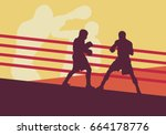 boxer man fight in boxing ring... | Shutterstock .eps vector #664178776