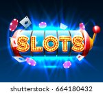 casino slots object on the blue ... | Shutterstock .eps vector #664180432