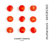 creative layout made of cherry... | Shutterstock . vector #664181362