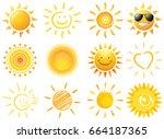 sun vector set | Shutterstock .eps vector #664187365