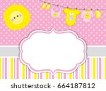 vector card template with baby... | Shutterstock .eps vector #664187812