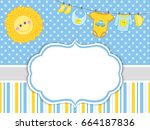 vector card template with baby... | Shutterstock .eps vector #664187836