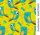 seamless cartoon pattern with... | Shutterstock .eps vector #664192642