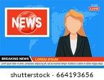 news anchor on tv breaking news ...   Shutterstock .eps vector #664193656