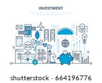 financial investments ... | Shutterstock .eps vector #664196776