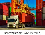 container truck or rubber tired ... | Shutterstock . vector #664197415
