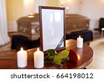 funeral and mourning concept  ...   Shutterstock . vector #664198012