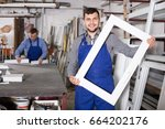 ordinary production workers in... | Shutterstock . vector #664202176