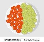 white plate with sliced... | Shutterstock .eps vector #664207612