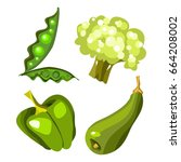 vector fruits and vegetables on ... | Shutterstock .eps vector #664208002