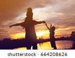 father took the baby learn to... | Shutterstock . vector #664208626