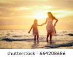 mother and her daughter are... | Shutterstock . vector #664208686